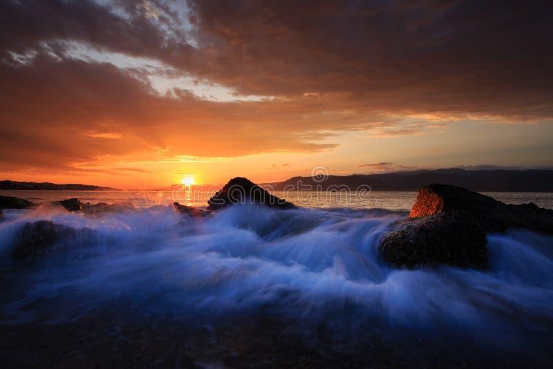 Wschód słońca w cieśninie Messina obraz royalty free
