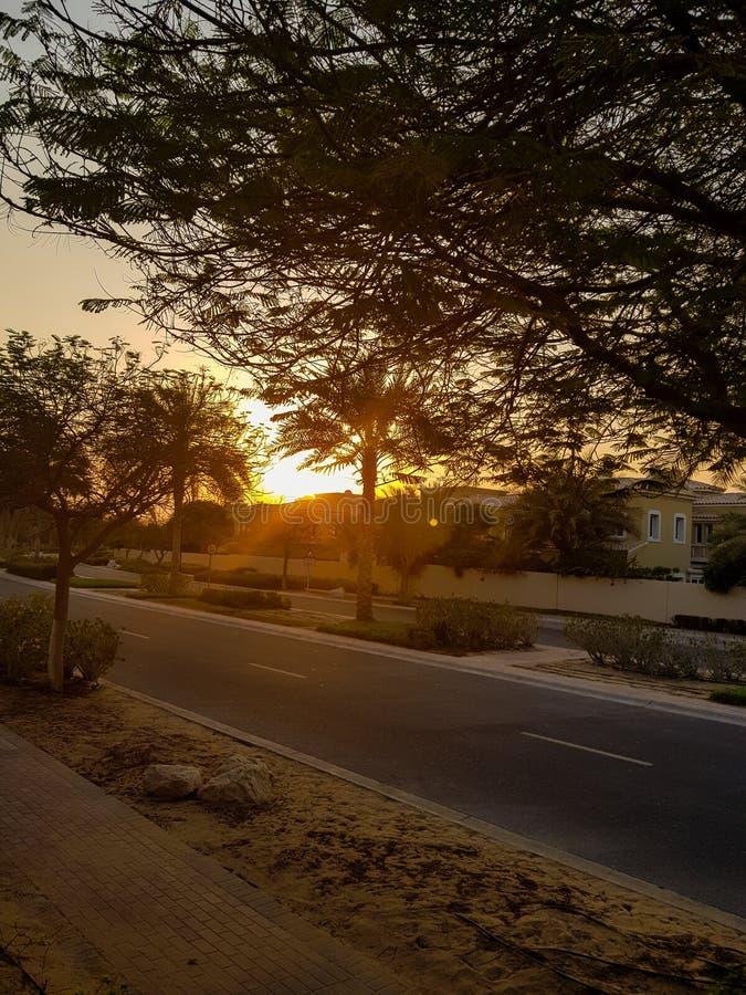 Wschód słońca w Dubais podmiejskim terenie zdjęcia royalty free