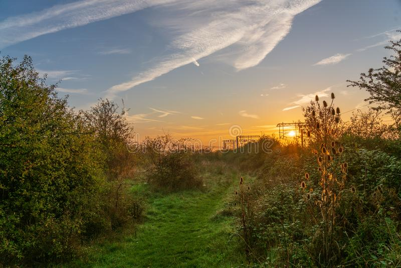 Wschód słońca w Essex, Anglia fotografia royalty free
