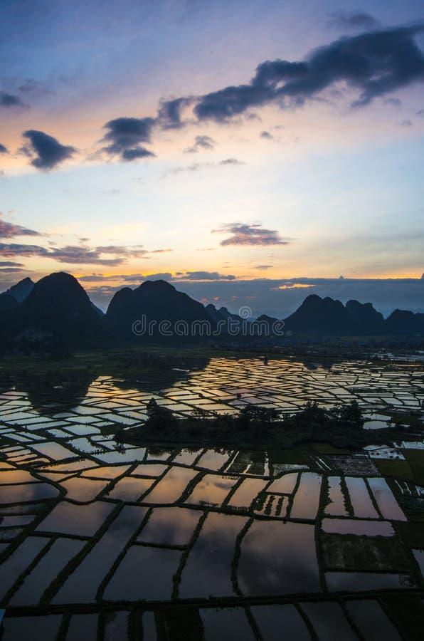 Wschód słońca w Huixian obrazy royalty free