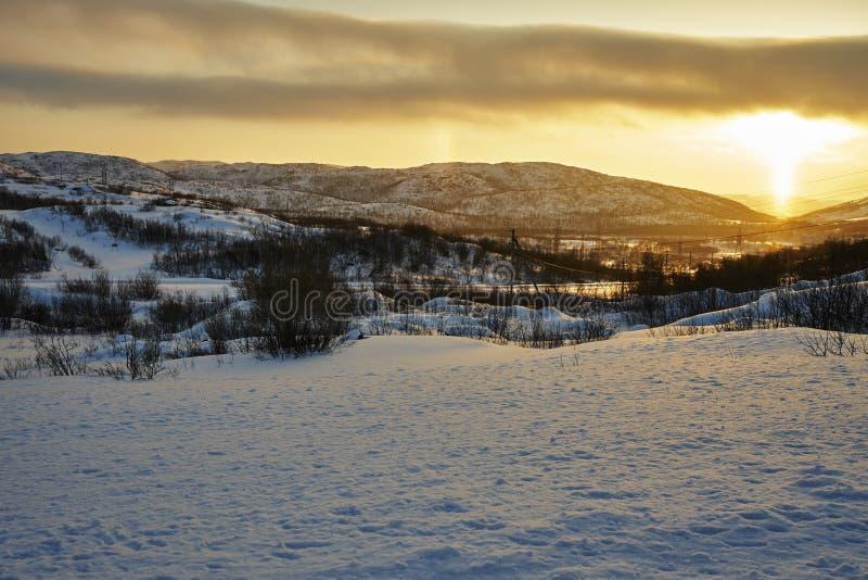 Wschód słońca w icefield blisko Arktycznego obraz stock