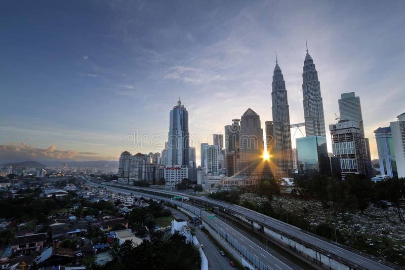 Wschód słońca w Kuala Lumpur mieście fotografia stock