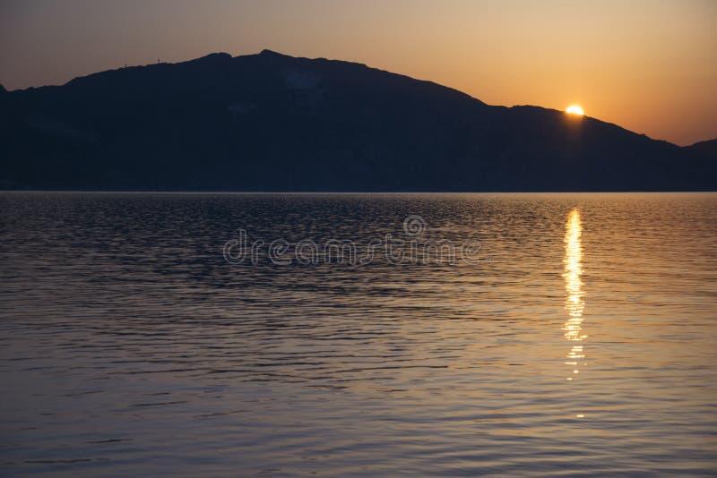Wschód słońca w Laganas Zakynthos, Grecja obraz stock