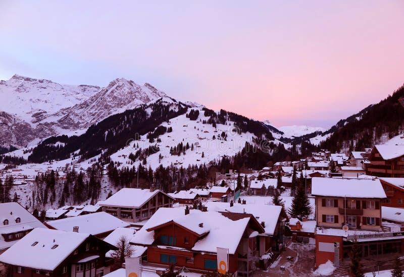Wschód słońca w pięknym Switzerland obrazy stock