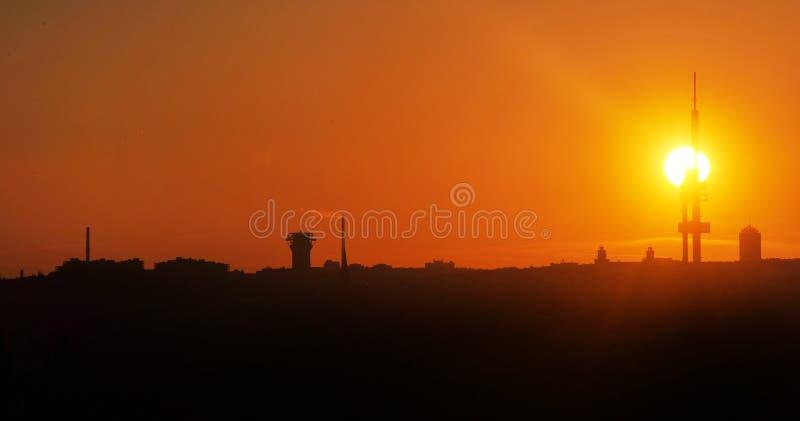 Wschód słońca w Praga obrazy stock