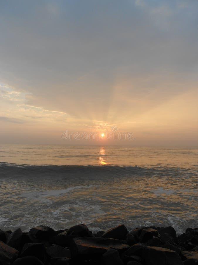 Wschód słońca w Puducherry, spokojny mały miasteczko na południowym wybrzeżu India obrazy royalty free