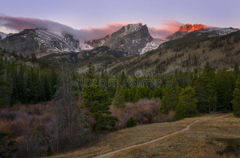 Wschód słońca w Skalistej góry parka narodowego Estes parku Kolorado obrazy royalty free
