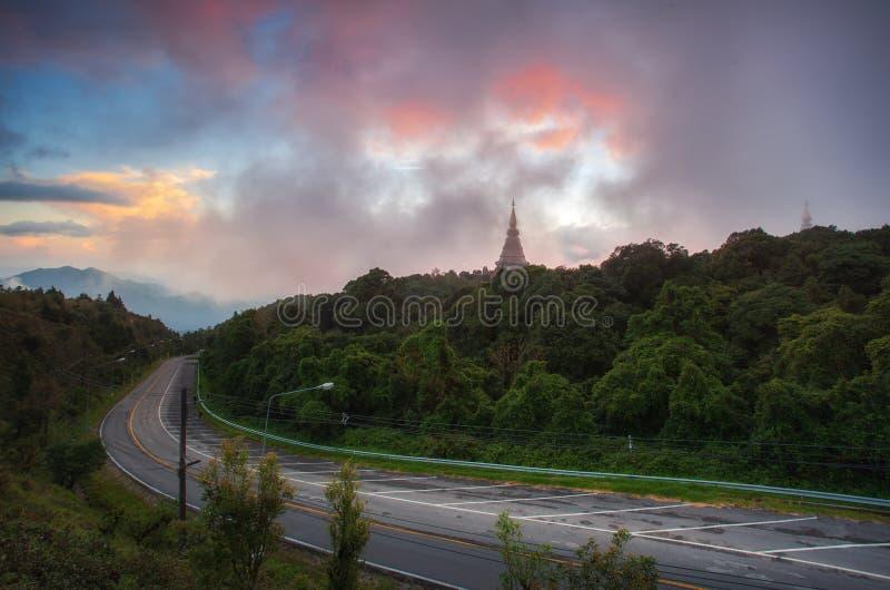Wschód słońca w widoku punkcie doi inthanon Chiangmai fotografia royalty free