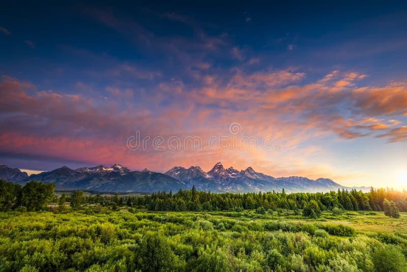 Wschód słońca w Wyoming Tetons zdjęcie royalty free