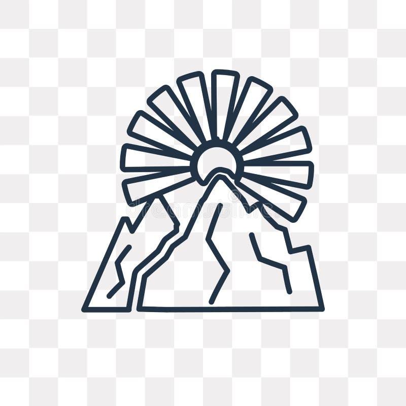 Wschód słońca wektorowa ikona odizolowywająca na przejrzystym tle, liniowy S royalty ilustracja