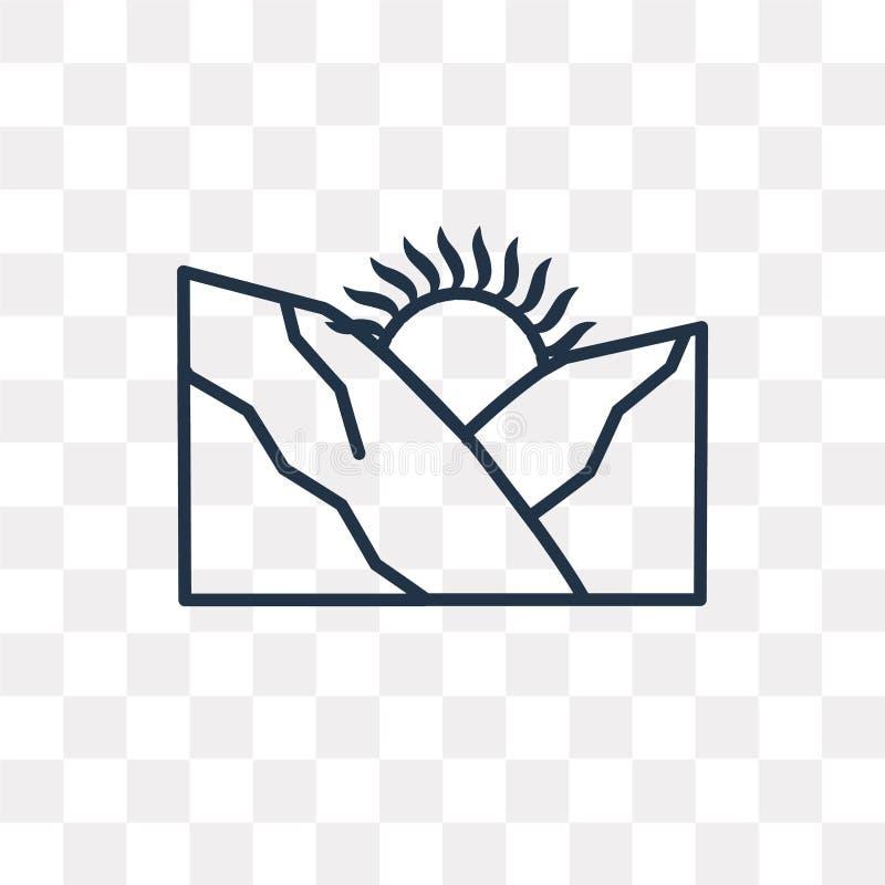 Wschód słońca wektorowa ikona odizolowywająca na przejrzystym tle, liniowy S ilustracja wektor
