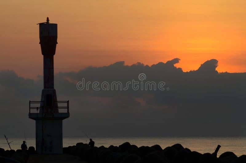Wschód słońca widok przy lekkim domem z połów aktywnością obrazy royalty free