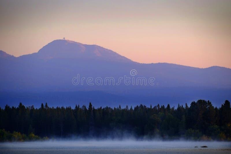 Wschód słońca zmierzch na jeziorze z mgły wydźwignięciem od Wodnych sosen i gór w tle Mt Sawtell obrazy royalty free