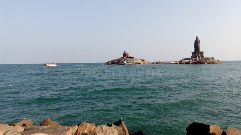 Wschód słońca, zmierzch, przylądka comorin, Kanyakumari, Tamilnadu obrazy royalty free