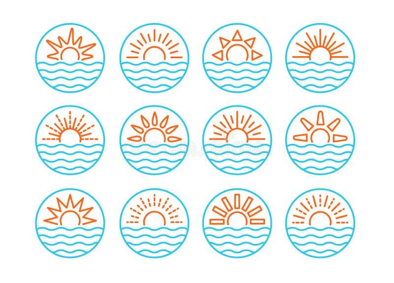 Wsch?d s?o?ca nad morzem zach?d s?o?ca nad ocean Lata round etykietki, emblematy z słońcem & fale, Set linia podpisuje dla podróż royalty ilustracja