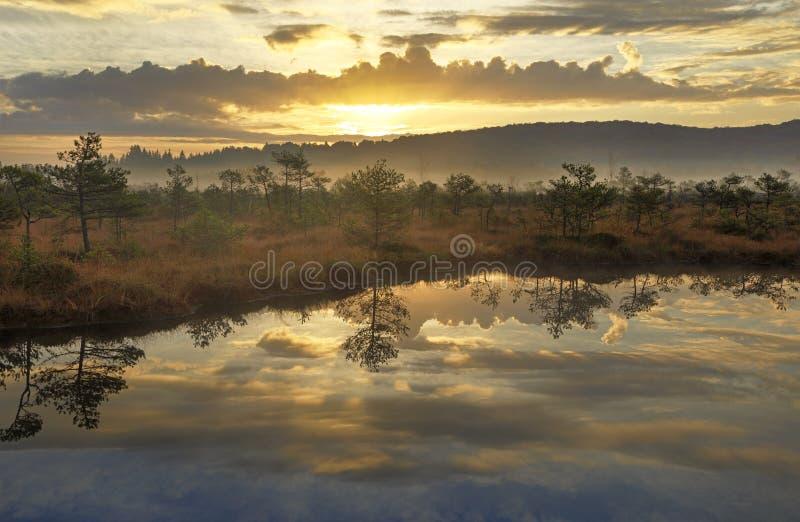 Wschodów słońca kolory nad jeziorem obraz stock