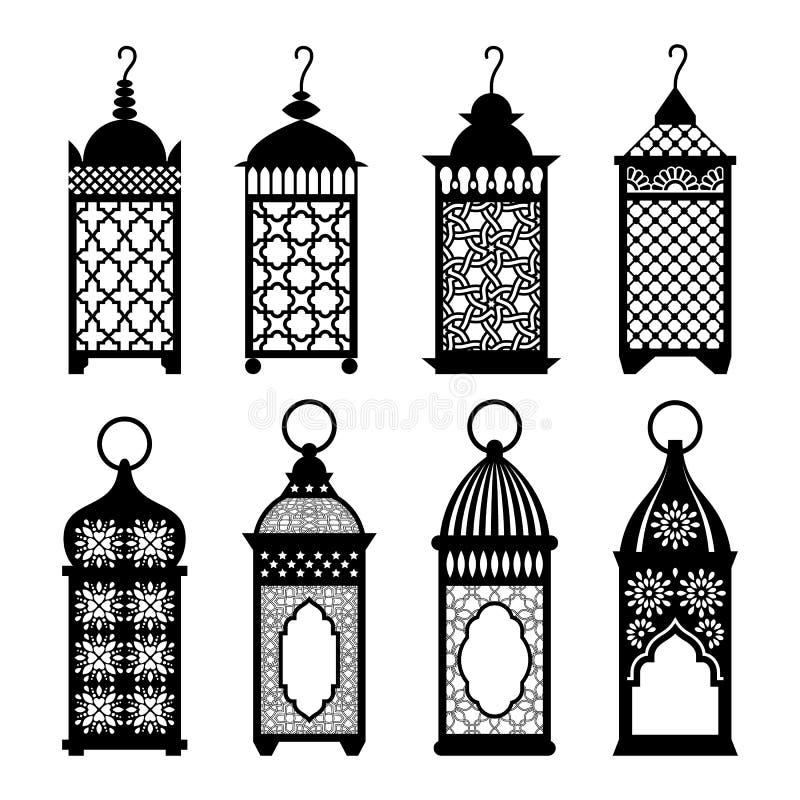 Wschodni arabscy lampiony ustawiająca wektorowa ilustracja ilustracji
