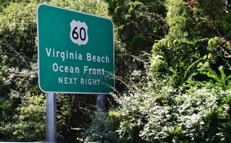 Wschodni brzeg usa Virginia plażowy drogowy znak obraz stock