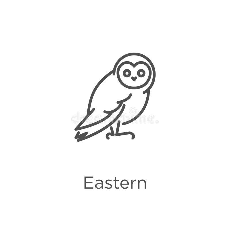 wschodni ikona wektor od sowy kolekcji Cienieje kreskową wschodnią kontur ikony wektoru ilustrację Kontur, cienieje kreskową wsch royalty ilustracja