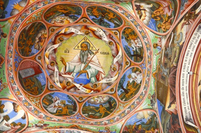 Wschodni Ortodoksalny Religijny obraz, ikona w Bułgarskim Rila monasterze, Wschodni Ortodoksalny monaster, UNESCO, Rila góry, Buł zdjęcia royalty free