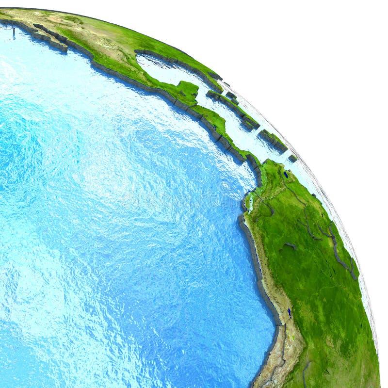 Wschodni Pacyfik na modelu ziemia ilustracji