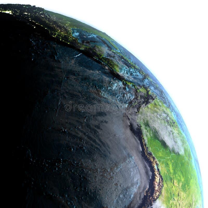 Wschodni Pacyfik na ziemi przy półmrokiem royalty ilustracja