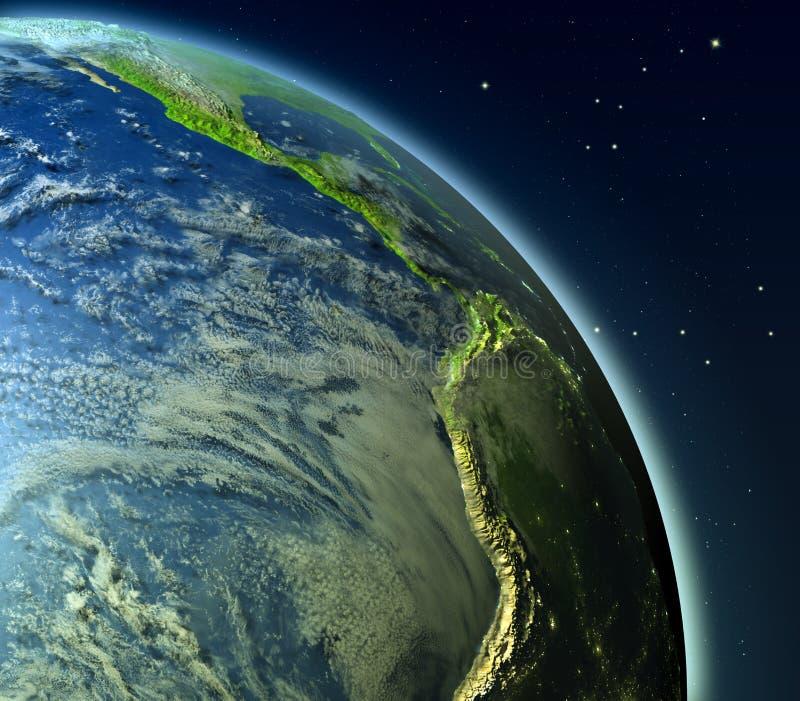 Wschodni Pacyfik od orbity ilustracji