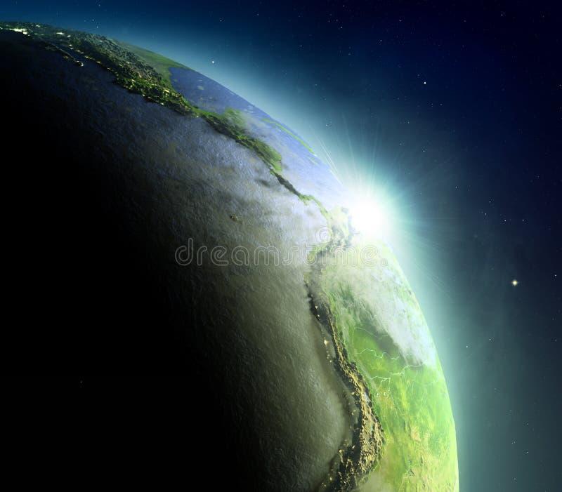 Wschodni Pacyfik od przestrzeni podczas wschodu słońca ilustracja wektor