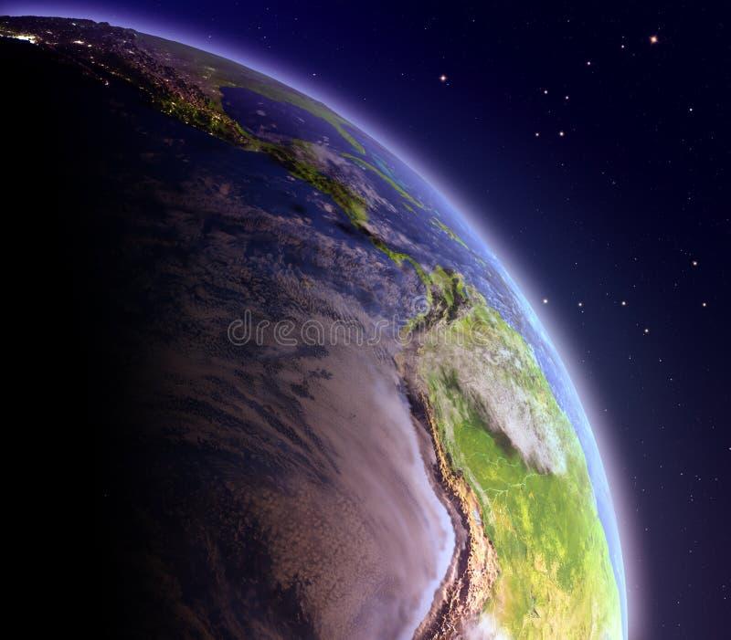 Wschodni Pacyfik od przestrzeni przy świtem royalty ilustracja
