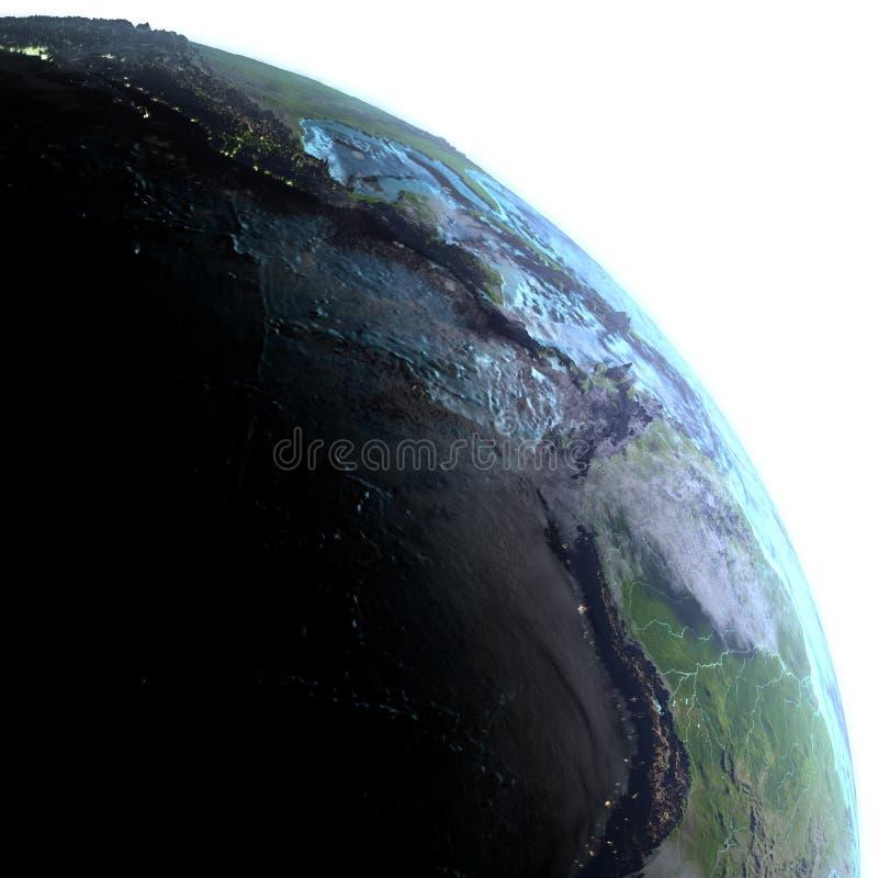 Wschodni Pacyfik od przestrzeni w ranku ilustracji