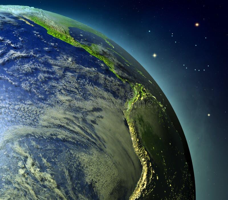 Wschodni Pacyfik od ziemi orbity royalty ilustracja