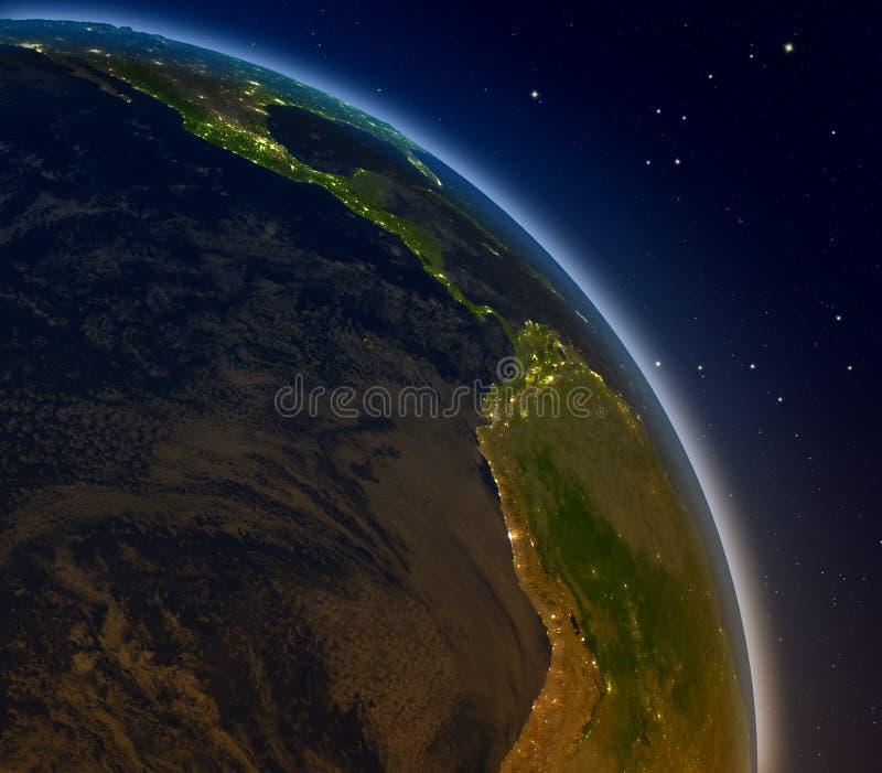 Wschodni Pacyfik przy nocą ilustracji