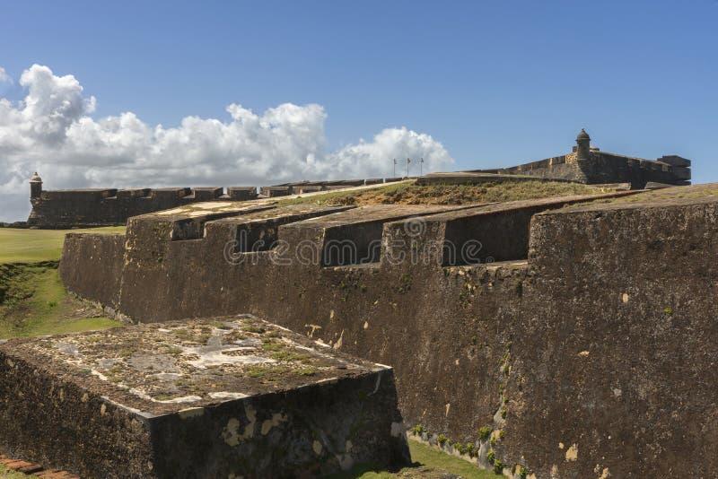 Wschodni ramparts Castillo San Christobal zdjęcie stock