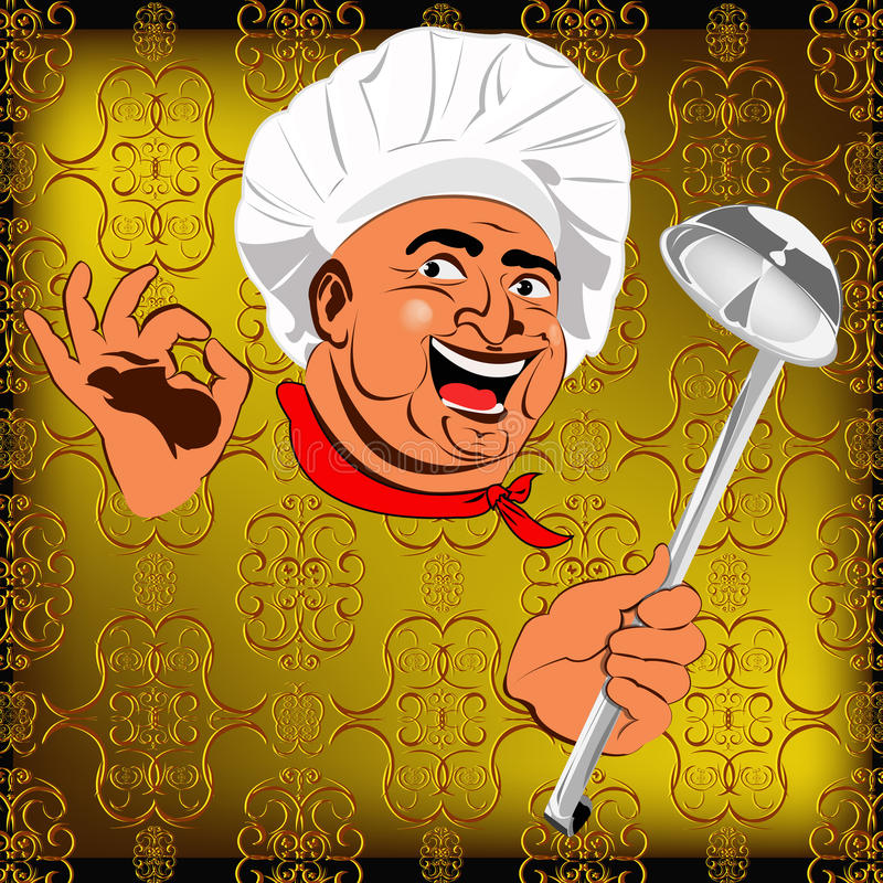 Wschodni szef kuchni i duża łyżka ilustracji