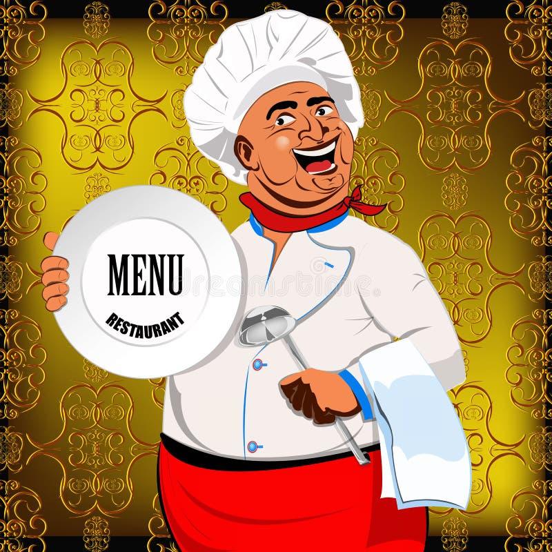 Wschodni szef kuchni i duży talerz ilustracji