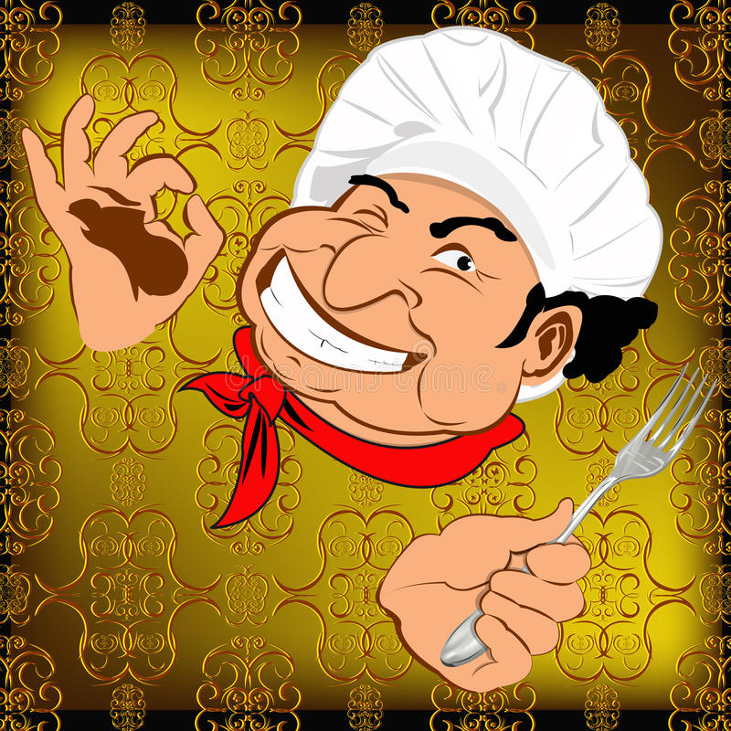 Wschodni szef kuchni z rozwidleniem royalty ilustracja