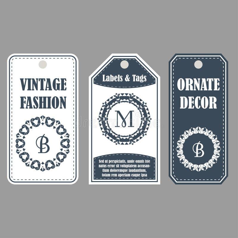 Wschodni wystrój z monogramami Rocznik ustawiający ornamentacyjne etykietki Szablon etykietki dla kart royalty ilustracja