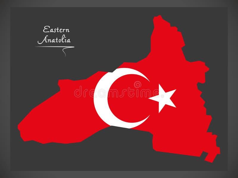 Wschodnia Anatolia Indycza mapa z Tureckim flaga państowowa illustra royalty ilustracja