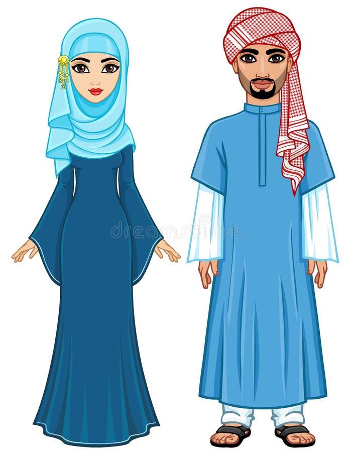 Wschodnia bajka Animacja portret Arabska rodzina w antycznym odziewa