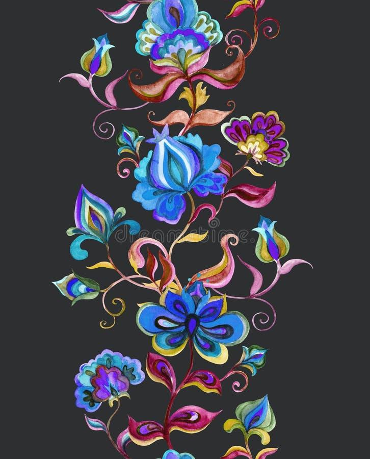 Wschodnia - europejska kwiecista ludowa sztuka - bezszwowa granica z stylizowanymi handcrafted kwiatami Akwarela lampas ilustracji