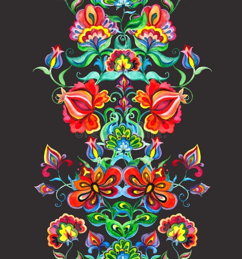 Wschodnia - europejska kwiecista rama - bezszwowa granica z ręką wykonującą ręcznie kwitnie akwarela ilustracja wektor