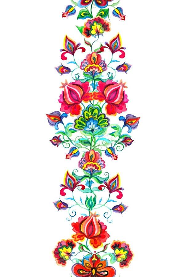 Wschodnia - europejski wystrój - bezszwowa kwiecista granica z etnicznymi kwiatami Akwarela sztandar ilustracji