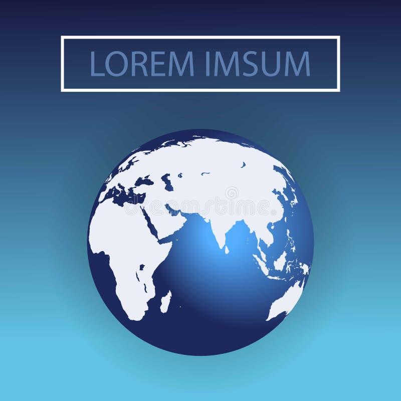 wschodnia hemisfera Światowa kula ziemska wektoru ilustracja błękitna planeta, wektorowy tło Afryka, Europa ilustracji