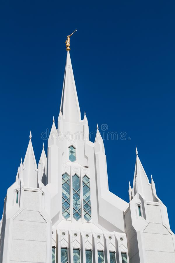 Wschodnia iglica Ozdobna Biała San Diego LDS świątynia zdjęcia royalty free