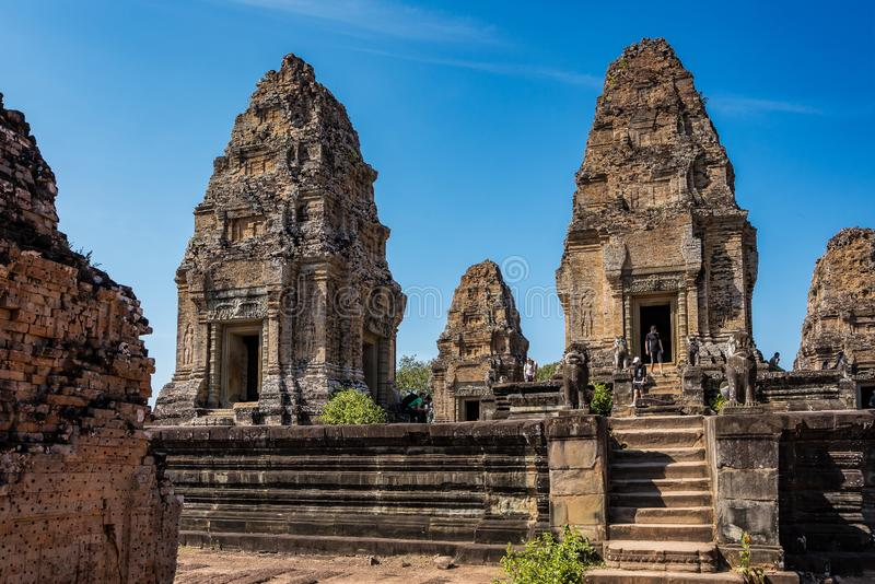 Wschodnia Mebon ?wi?tynia w Angkor Wat kompleksie w Siem Przeprowadza ?niwa, Kambod?a obraz royalty free