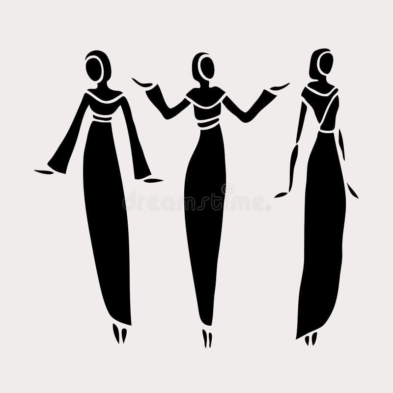 Wschodnie kobiety w przesłaniający ilustracji