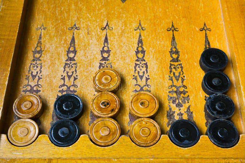 Wschodniego rocznika gry planszowa drewniany trik-trak obrazy royalty free