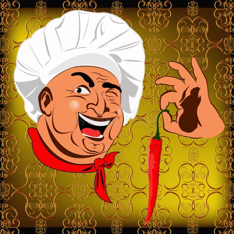 Wschodniego szefa kuchni i czerwonego pieprzu chili ilustracja wektor