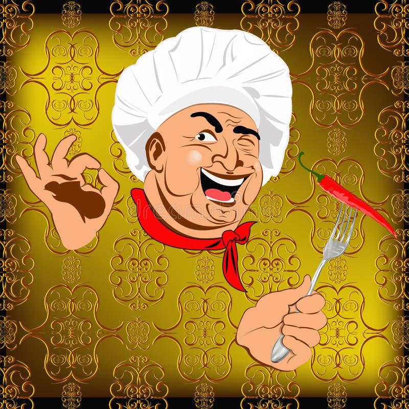 Wschodniego szefa kuchni i czerwonego pieprzu chili royalty ilustracja