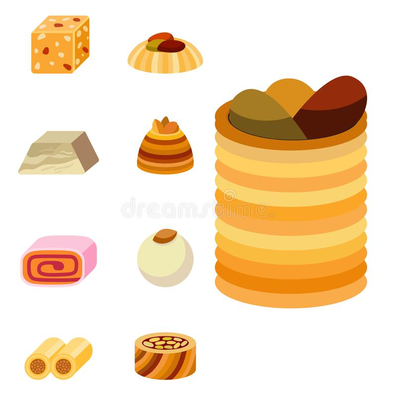 Wschodniego wyśmienicie deserowego cukierki ciasteczka asortymentu ilustraci karmowego wschodniego domowej roboty wektorowego tor ilustracji